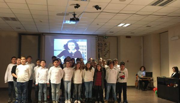 Bambini davanti al ritratto di Anna Frank