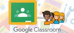 Google classroom, lavagna con le sagome e avatar di bambini e bambine